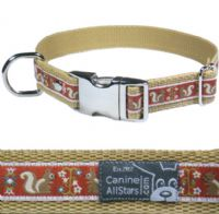 DOG COLLAR - FOLKLORE SQUIRRELS ON MAROON RED